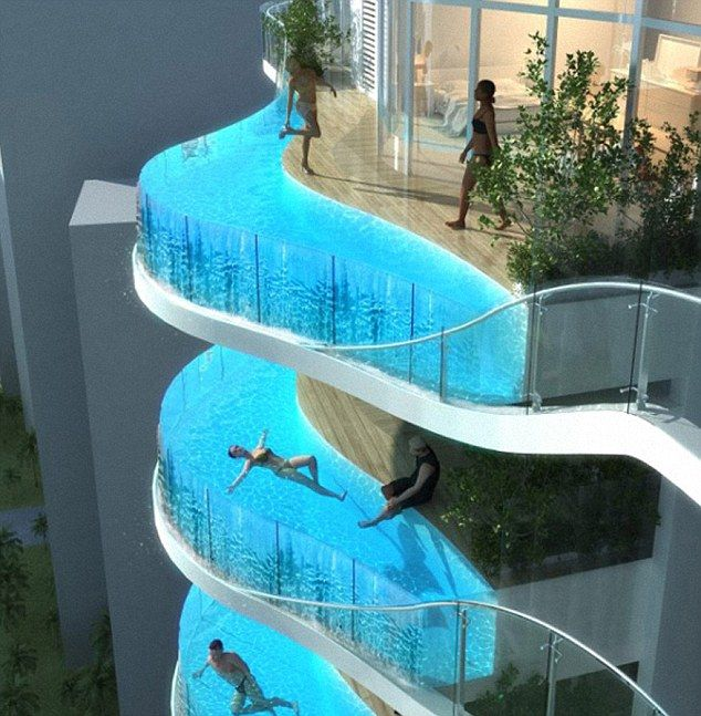 Just don't add a diving board! The incredible apartments that have swimming pools instead of balconies -   Swimming pool Ideas
