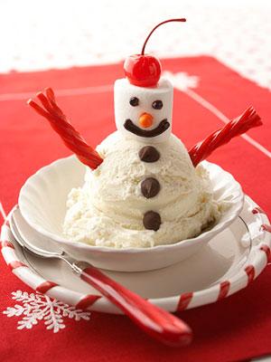 Snowman Ice Cream Sundaes