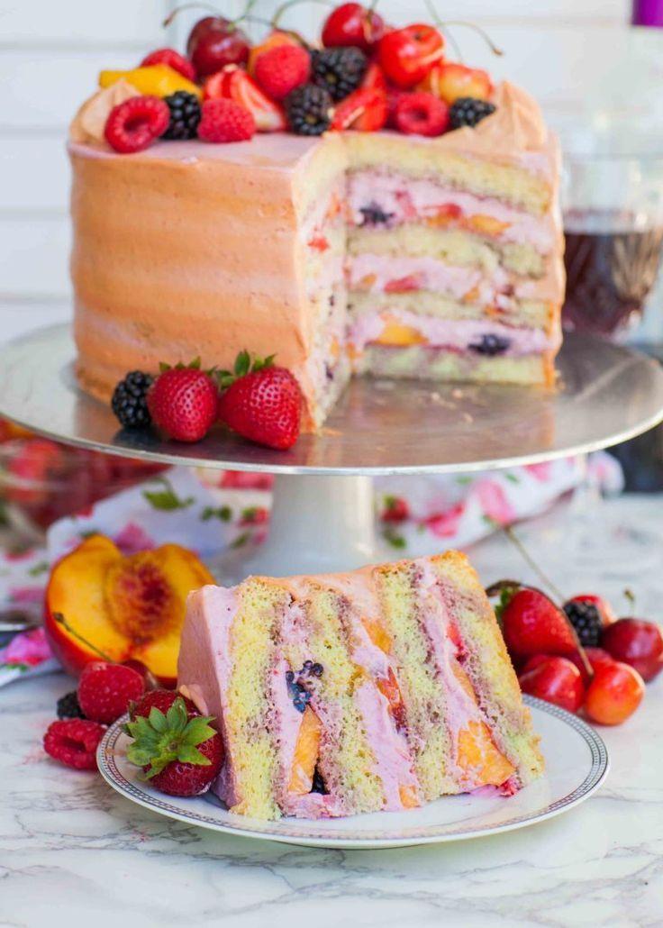Summer Fruit Sangria Cake Recipe (video) - Tatyanas Everyday Food -   19 desserts Cake fruit ideas